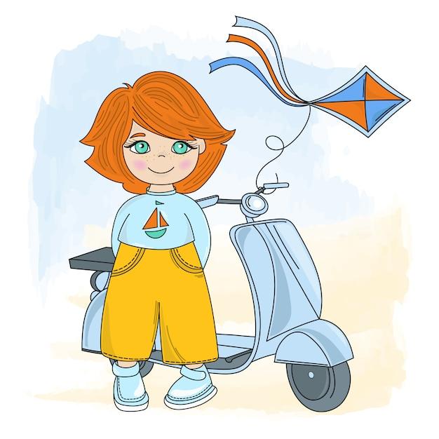 Cycle enfants cartoon vector illustration set Vecteur Premium