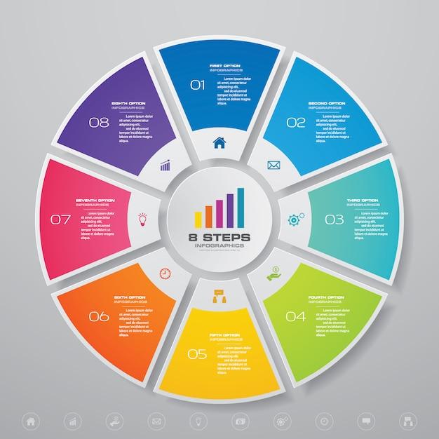Cycle infographie éléments graphiques pour la présentation des données. Vecteur Premium
