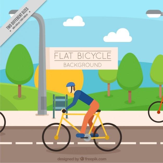 Cycliste sur le fond de la route Vecteur gratuit