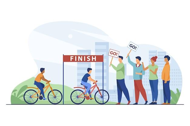 Les Cyclistes En Compétition Sur Le Marathon Cycliste De La Ville. Vecteur gratuit