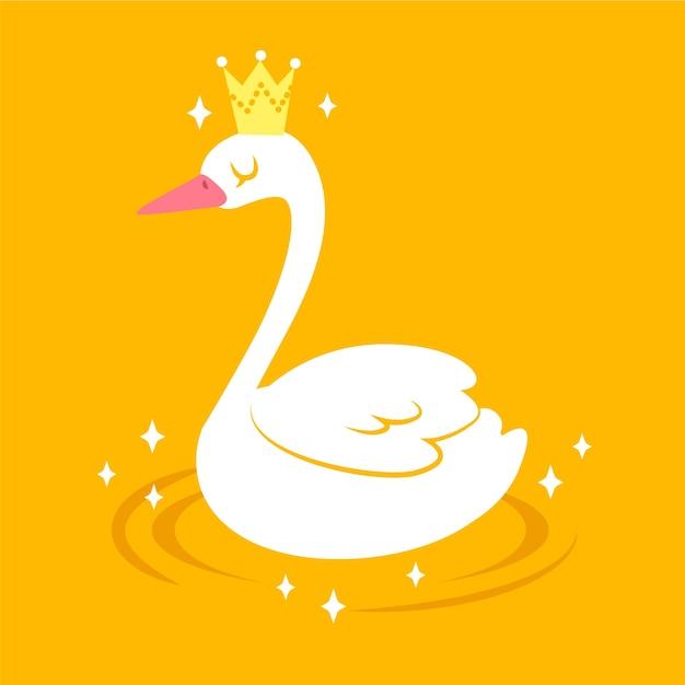 Cygne Blanc Nageant Sur Un Lac Vecteur gratuit