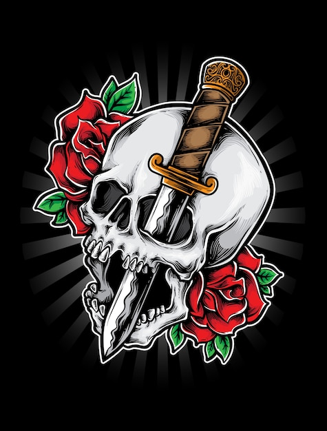 Dague de crâne Vecteur Premium