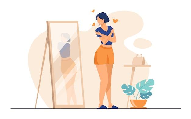 Dame Narcissique Debout Au Miroir Vecteur gratuit