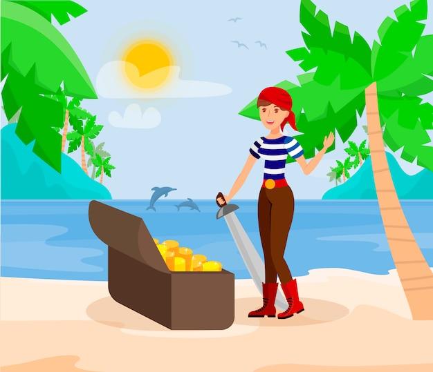 Dame De Pirate Avec Epee Illustration De Couleur A Plat Vecteur Premium