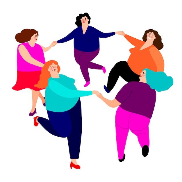 Dames drôles danse Vecteur Premium