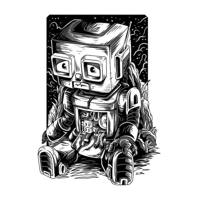 Damn robot remastered illustration en noir et blanc Vecteur Premium