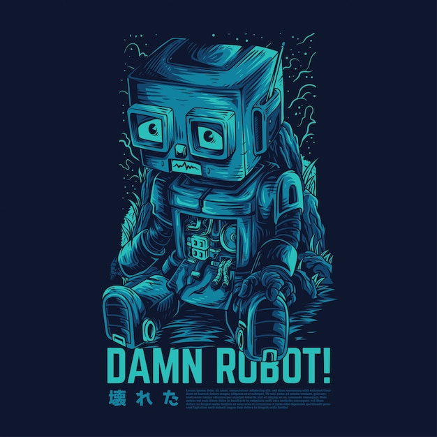Damn Robot Remastered Illustration Vecteur Premium