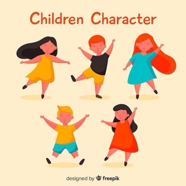 Dancing Kids Pack De Personnages Pour Enfants Vecteur gratuit