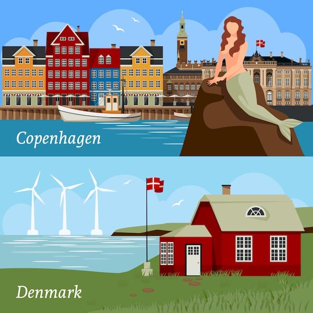 Danemark Compositions De Style Plat Vecteur gratuit