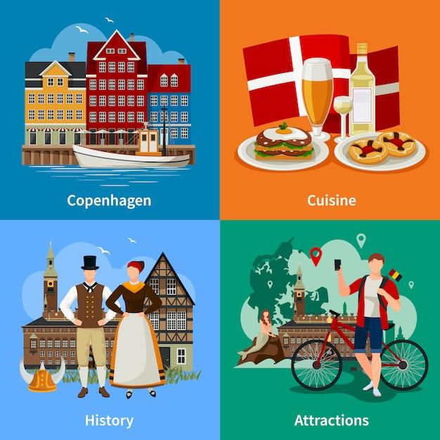 Danemark concept de style plat Vecteur gratuit