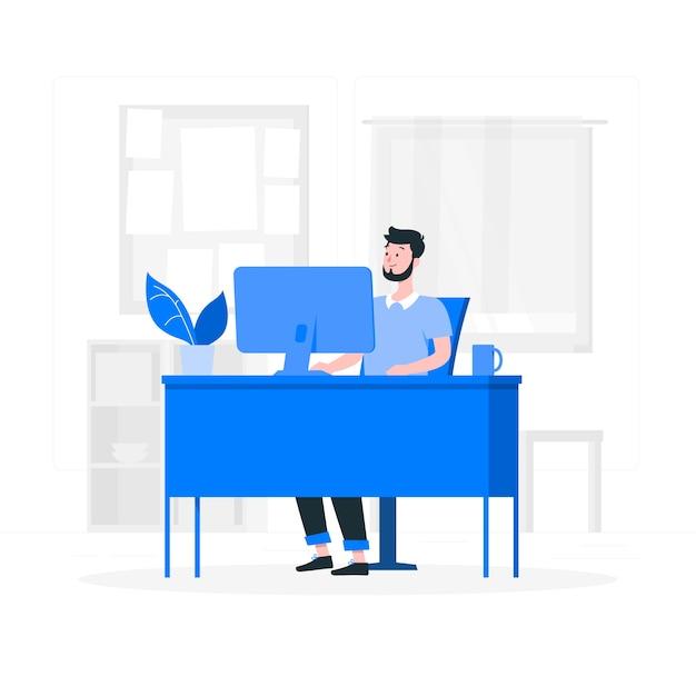 Dans L'illustration De Concept De Bureau Vecteur gratuit