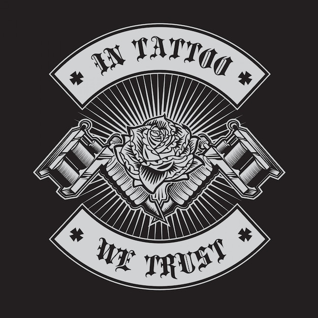 Dans le tatouage, nous faisons confiance Vecteur Premium
