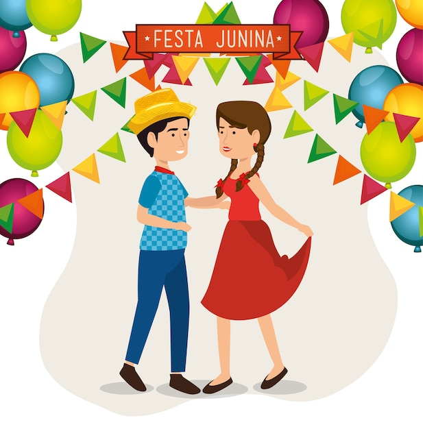 Danse de couple avec des ballons et des bannières sur illustration vectorielle fond blanc Vecteur Premium
