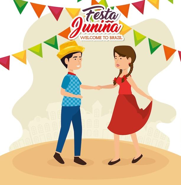 Danse de couple avec signe de festa junina et bannières colorées vector illustration Vecteur Premium