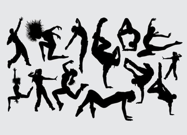 Danse étirement Sport Aérobic Silhouette Vecteur Premium
