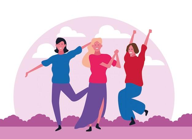 Danse des gens avatar Vecteur Premium