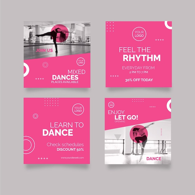 Danse Instagram Posts Vecteur gratuit