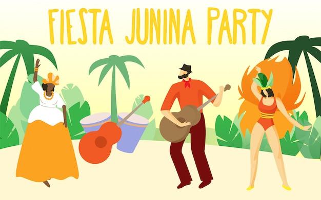 Danser chez les gens de carnaval. fiesta junina perty. Vecteur Premium