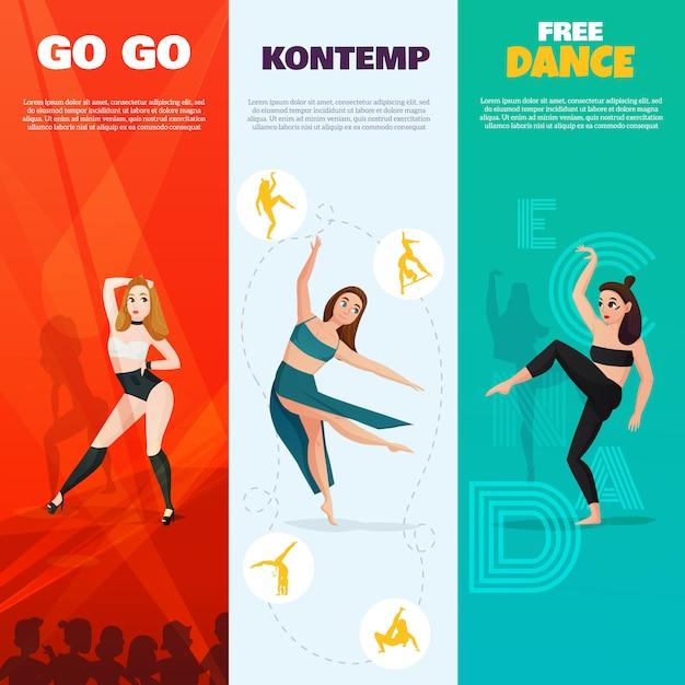 Danses modernes bannières verticales Vecteur gratuit