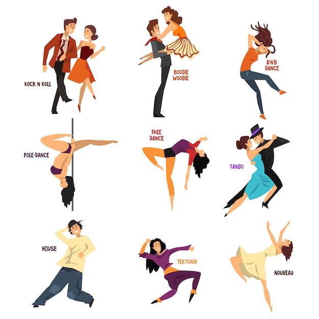 Danseur Professionnel Personnes Dansant, Jeune Homme Et Femme Effectuant Des Danses Modernes Et Classiques Illustrations Vecteur Premium