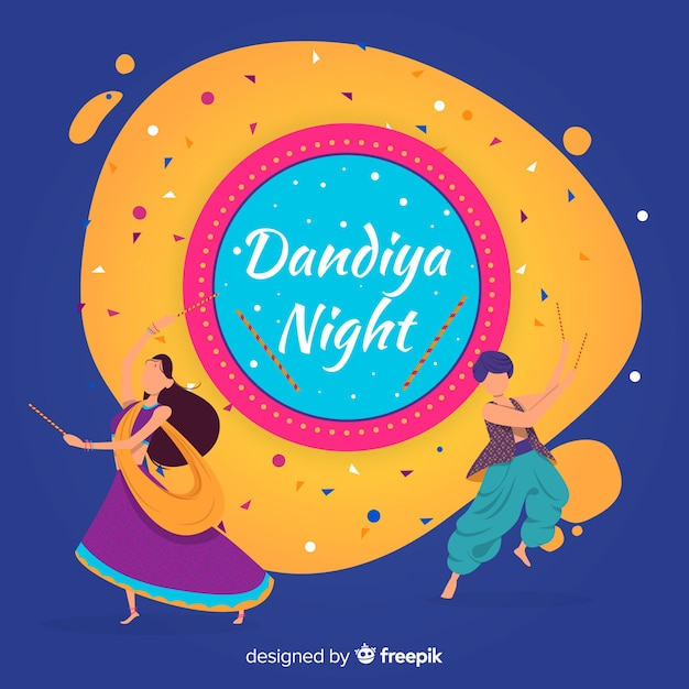 Danseurs dandiya Vecteur gratuit
