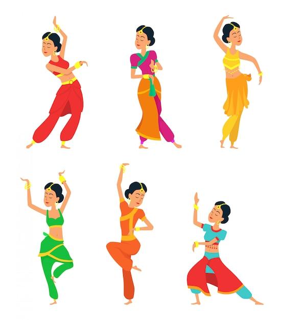 Danseurs indiens isolés. jeu de caractères Vecteur Premium