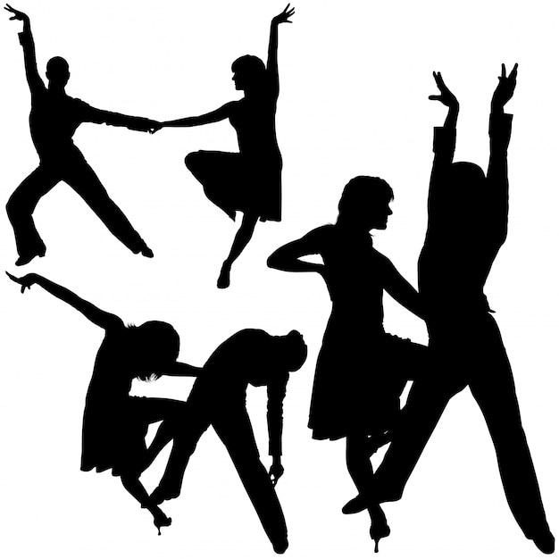 Danseurs latinos silhouettés Vecteur Premium