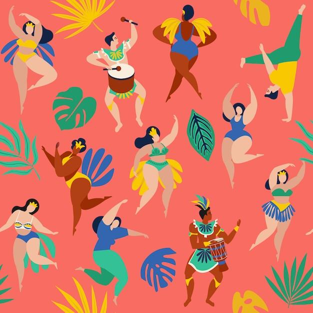 Danseurs de samba brésiliens du carnaval de rio de janeiro. Vecteur Premium