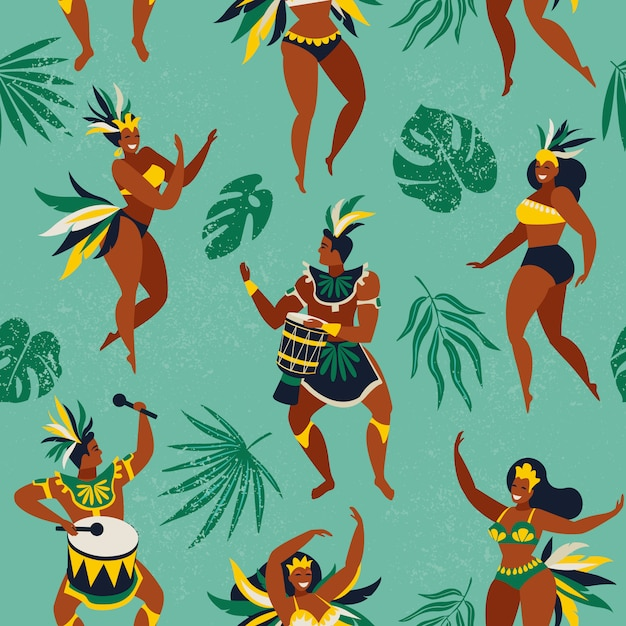 Danseurs de samba brésiliens Vecteur Premium