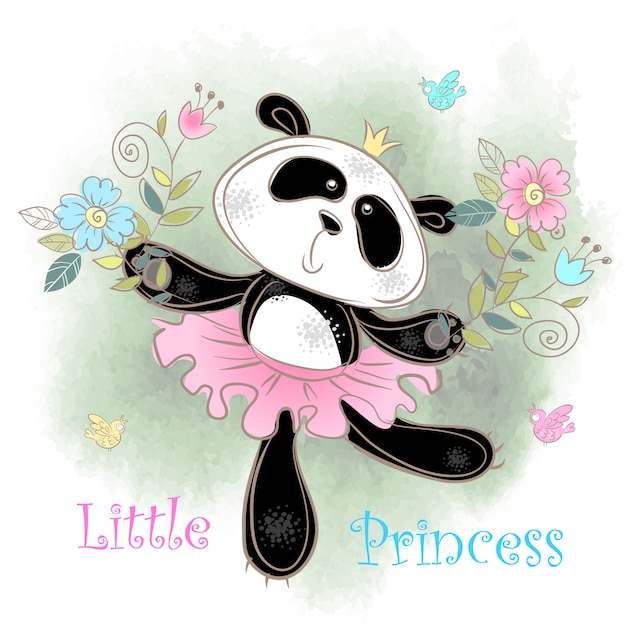 Danseuse ballerine panda mignonne. petite princesse. Vecteur Premium