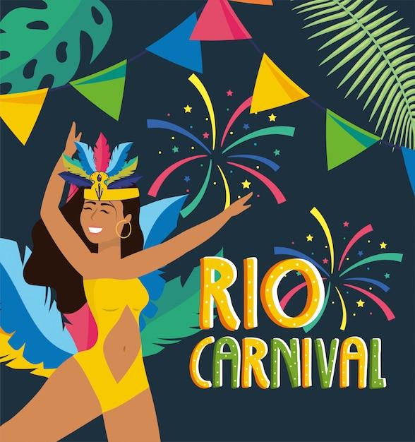 Danseuse avec fête au carnaval Vecteur Premium