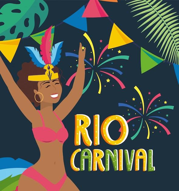 Danseuse avec feu d'artifice et fête carnaval de rio Vecteur Premium