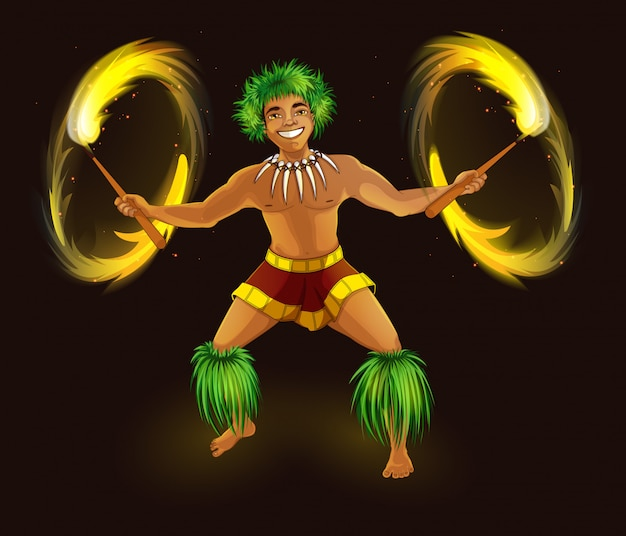Danseuse hawaïenne avec des flambeaux enflammés en costume national. Vecteur Premium
