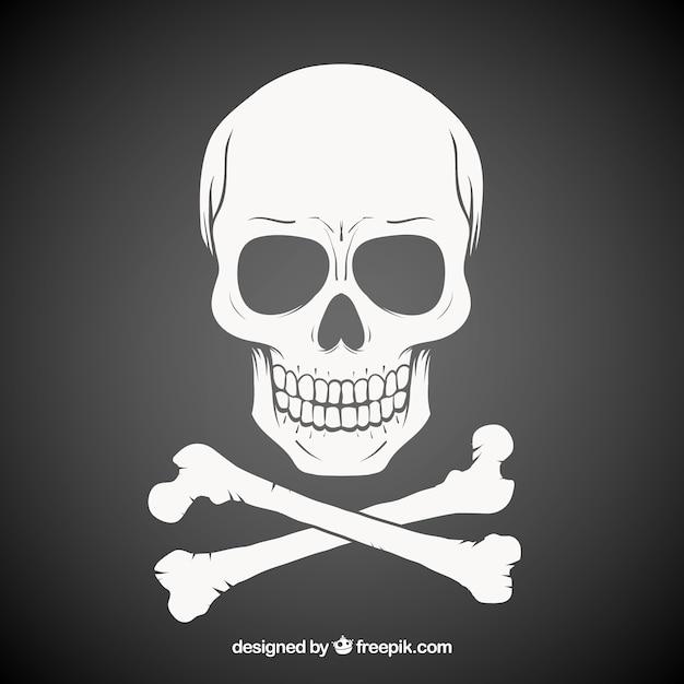 Dark hand drawn skull background Vecteur gratuit
