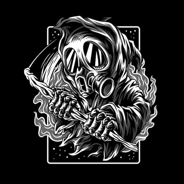 Dark myth illustration en noir et blanc Vecteur Premium