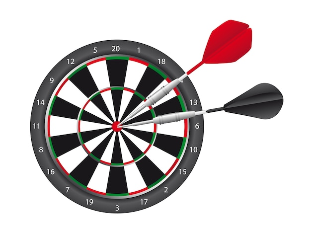 Dart et dart board isolé sur fond blanc vecteur Vecteur Premium