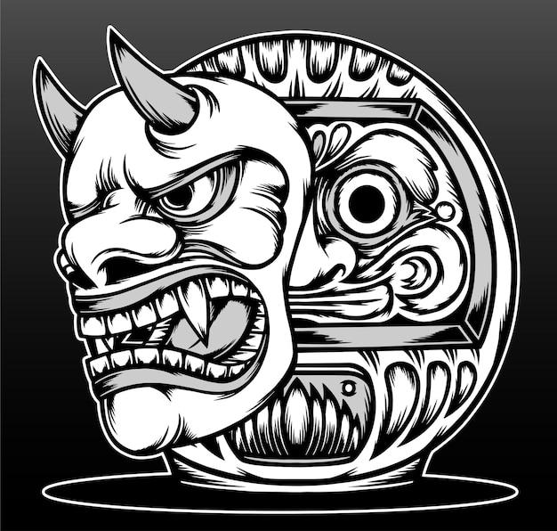 Daruma Cool Avec Conception D'illustration Dessinée à La Main Masque Hannya Vecteur Premium