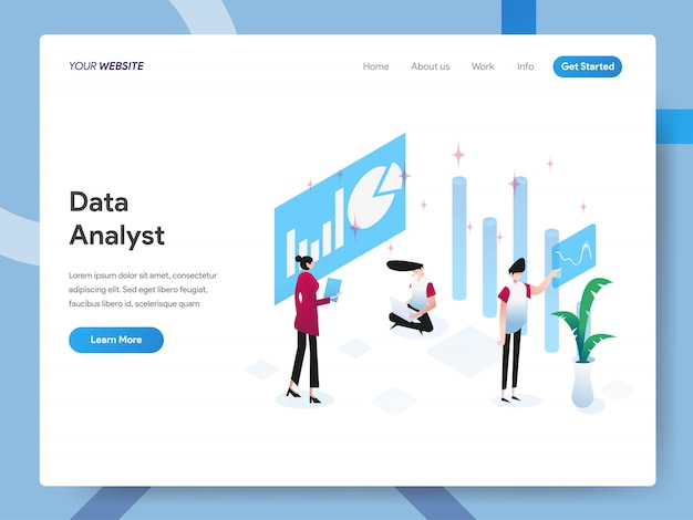 Data Analyst Isometric Illustration Pour La Page Web Vecteur Premium