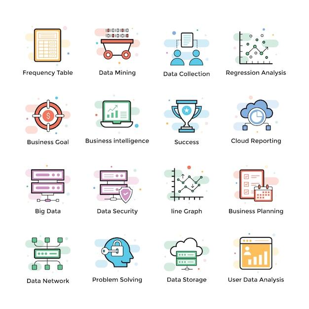 Data analytics icons set Vecteur Premium