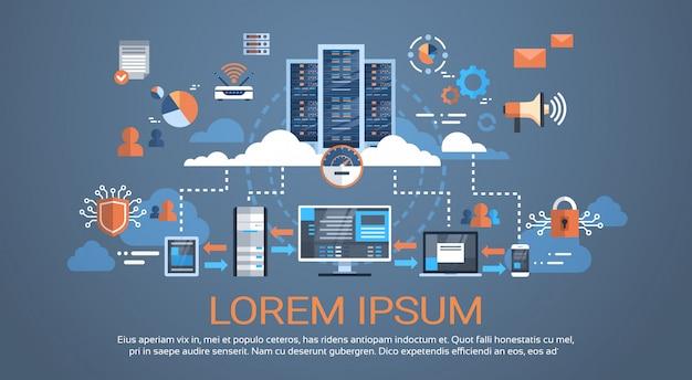Data center cloud connexion à l'ordinateur serveur d'hébergement base de données synchroniser la technologie Vecteur Premium