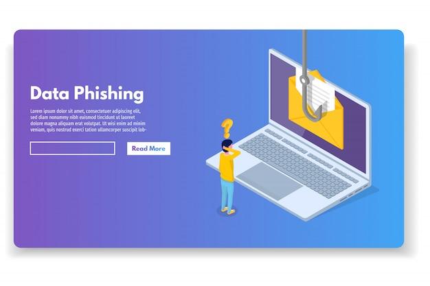 Data Phishing Isométrique, Piratage En Ligne. Pêche Par Mail, Enveloppe Et Crochet. Cyber Voleur. Illustration Vectorielle. Vecteur Premium