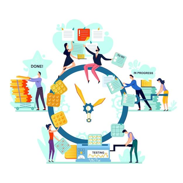 Date limite et temps vecteur de concept de gestion entreprise. Vecteur Premium