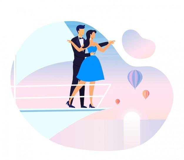 Date Romantique Sur L'illustration Vectorielle De Bateau De Plaisance Vecteur Premium