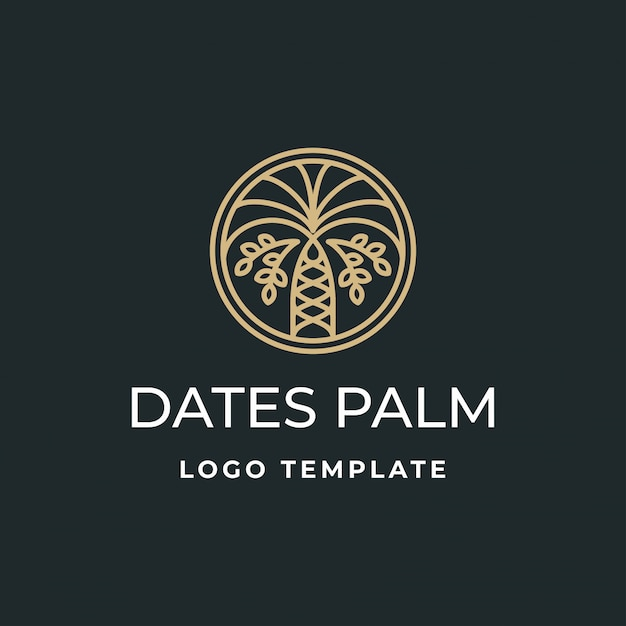 Dates De Luxe Palm Logo Vecteur Premium