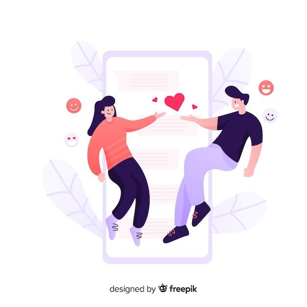 Dating Design Plat De Concept D'application Vecteur Premium