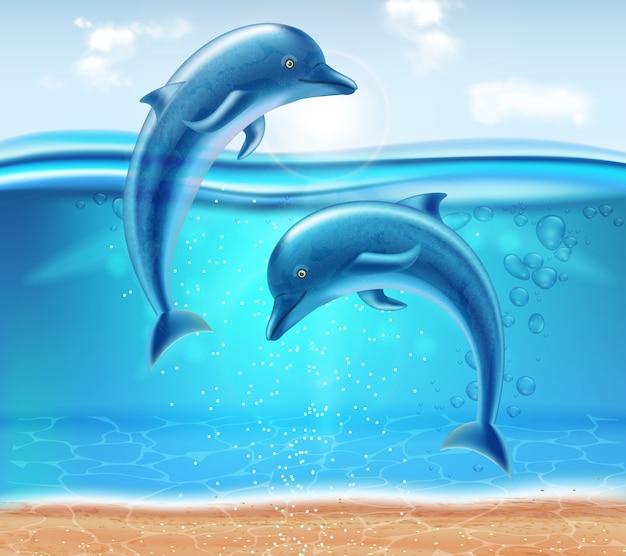 Dauphins sautant Vecteur Premium