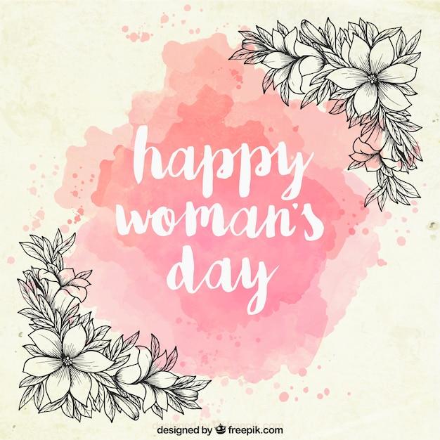 Day background aquarelle des femmes avec des fleurs dessinées à la main Vecteur gratuit