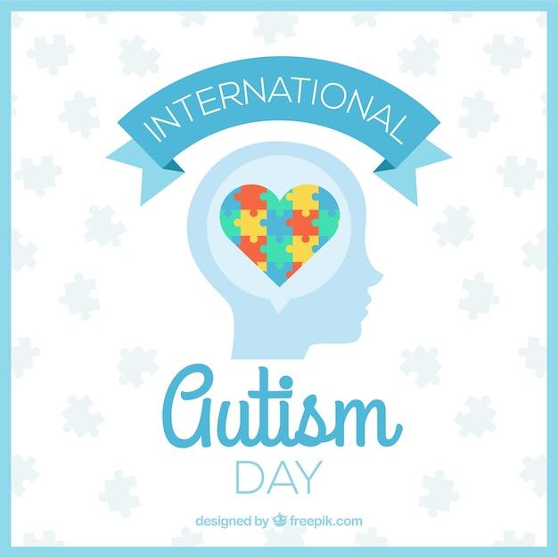 Day background de l'autisme avec le coeur de puzzle Vecteur gratuit