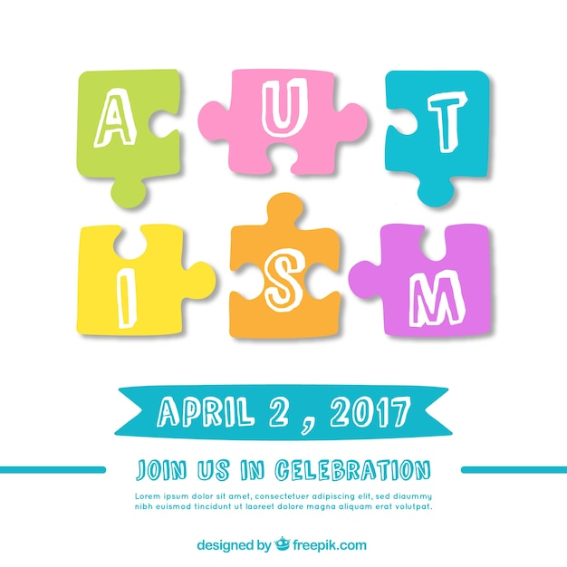 Day background de l'autisme avec des morceaux de puzzle Vecteur gratuit