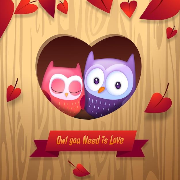 Day owls cuddle saint-valentin avec le coeur d'amour arbre accueil vecteur illustration Vecteur gratuit